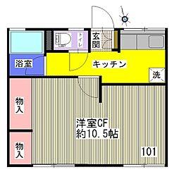 シティハイム 稲毛東[101号室]の間取り