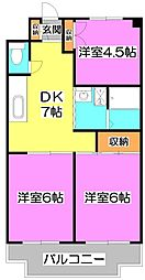 JUN志木ハイツ[3階]の間取り