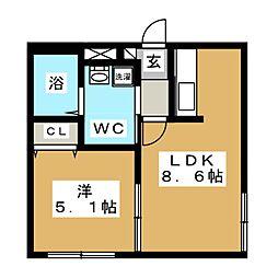 マリーノ南円山[4階]の間取り