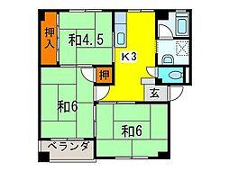 第二西村マンション[402号室]の間取り