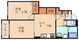 ヴィラ・坂本II[1階]の間取り