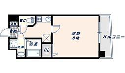 アドバンス大阪フェリシア 3階1Kの間取り