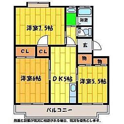 メナーハイツ藍[405号室]の間取り