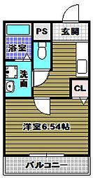 大阪府大阪狭山市茱萸木7丁目の賃貸アパートの間取り