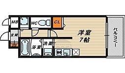 クレアート大阪トゥールビヨン 6階ワンルームの間取り