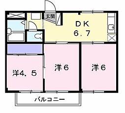 浜コーポA[2階]の間取り