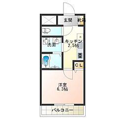 南海高野線 沢ノ町駅 徒歩7分の賃貸マンション 2階1Kの間取り
