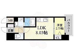 ディームス江坂駅前1 5階1LDKの間取り