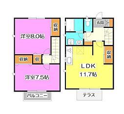 西武池袋線 所沢駅 徒歩20分の賃貸テラスハウス 2LDKの間取り