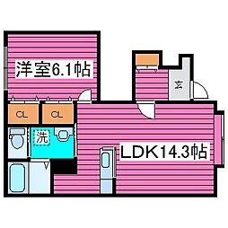 北海道札幌市東区伏古十四条5丁目の賃貸アパートの間取り