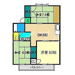 セジュール広見[2階]の間取り