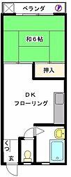 若竹コーポ[202号室]の間取り
