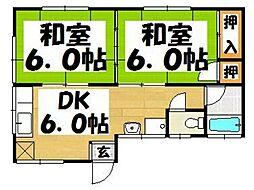 福岡県春日市小倉1丁目の賃貸アパートの間取り