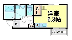 兵庫県尼崎市大物町2丁目の賃貸アパートの間取り