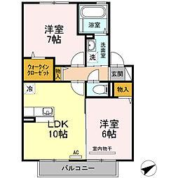 セジュールモンピ[1階]の間取り