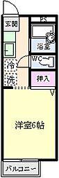 東京都八王子市下柚木の賃貸アパートの間取り