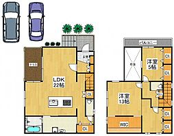 堺市東区大美野11-15戸建 1階2LDKの間取り