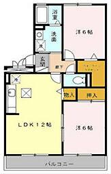 福岡県北九州市八幡西区東鳴水2丁目の賃貸アパートの間取り