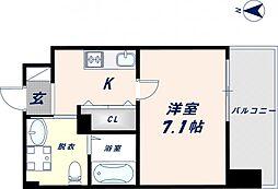 JPRESIDENCE大阪城東II 7階1Kの間取り