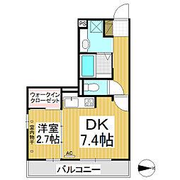 レセンテ塚田 1階1DKの間取り