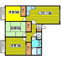 北海道札幌市東区北十一条東12丁目の賃貸アパートの間取り
