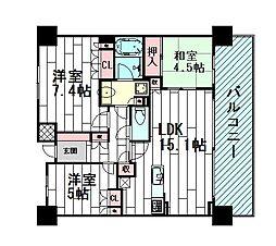 パークコート千里桃山台[4階]の間取り
