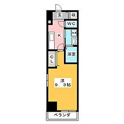 プラステ東島田 5階1Kの間取り