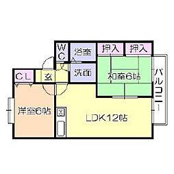 福岡県久留米市長門石の賃貸アパートの間取り