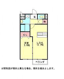 愛知県小牧市大字舟津の賃貸アパートの間取り
