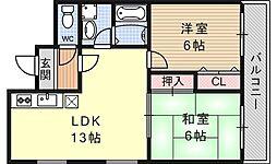 ヌーベル花ノ岡[201号室号室]の間取り