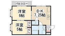 西田マンション[401号室]の間取り