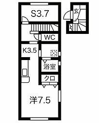 JR奥羽本線 北山形駅 西田5丁目下車 徒歩2分の賃貸アパート 2階ワンルームの間取り
