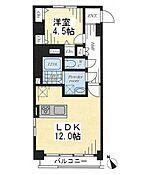 1LDKの間取り図。9階・南西角部屋です。