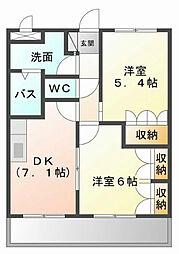 福岡県遠賀郡水巻町吉田西4丁目の賃貸アパートの間取り