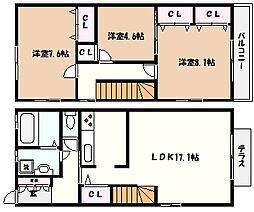 [テラスハウス] 兵庫県芦屋市西芦屋町 の賃貸【/】の間取り
