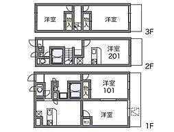 近鉄大阪線 恩智駅 徒歩7分の賃貸アパート 1階2DKの間取り