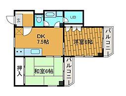 サンライズ高田[3階]の間取り