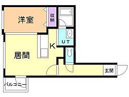 Ruk-A円山(ルクア円山) 1階1LDKの間取り