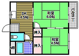 福田ハイツ 1階2DKの間取り