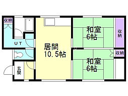 栄町1丁目貸家 1階2LDKの間取り