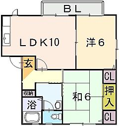 大阪府東大阪市大蓮北3丁目の賃貸アパートの間取り
