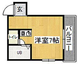 林マンション 2階ワンルームの間取り