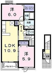 東京都青梅市今寺1丁目の賃貸アパートの間取り