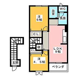 アルカディア舞阪B[2階]の間取り