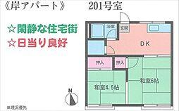 岸アパート[201号室号室]の間取り