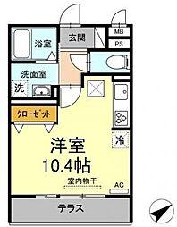 名鉄名古屋本線 矢作橋駅 徒歩25分の賃貸マンション 2階ワンルームの間取り