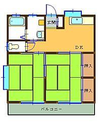 コーポ中田B[102号室]の間取り
