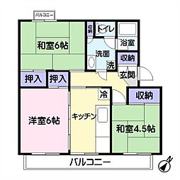 公団若葉台第一住宅14号棟[3階]の間取り
