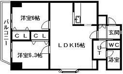 北海道札幌市中央区南十二条西8丁目の賃貸マンションの間取り