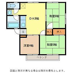 しなの鉄道 軽井沢駅 徒歩21分の賃貸アパート 2階3DKの間取り